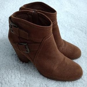 Suede Buckle Ankle Booties